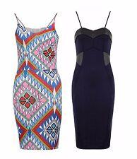 Womens Ladies Strappy PVC Patches Zip Back Bodycon Aztec Midi  Party Dress 8-14