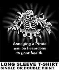 ANNOYING PIRATE IS HAZARDOUS TO YOUR HEALTH CARIBBEAN SKULL SKELETON T-SHIRT 21