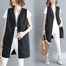 Womens Casual Cotton Linen Vest Waistcoat Sleeveless Coats Long Jackets Loose