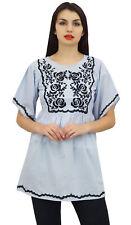 Les aari d'été des Phagun tunique en coton manches mouchoir bleu vers le haut
