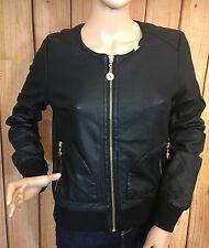 Eighth Sin Women's Black Faux Leather Jacket Hole Embossed Pattern