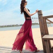 femme mousseline de soie plage décontracté Pantalon jambe large Palazzo taille