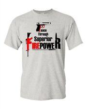 Adult Peace Through Superior Firepower AR-15 Pro Gun Funny Humor T-Shirt Tee