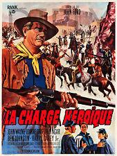 REPRO DECO AFFICHE CINEMA CHARGE HEROIQUE WAYNE 1963 SUR PANNEAU MURAL BOIS HDF
