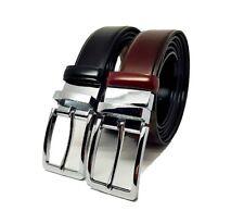 e4bb39117ae5e8 Cintura uomo elegante eco pelle cinta classica double face cuoio nera  bordeaux