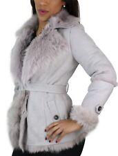 Veste femme peau de mouton et fourrure style trench avec ceinture