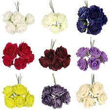 Bunch of 5 Large Soft Foam Roses - Artificial Wedding Flowers Silk Premium Fake
