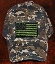 United States Tactical USA Flag Hat Baseball Cap Black ACU Military Camo Green