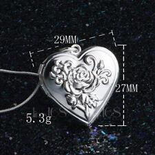 925 Sterling Silver Heart Open Locket Rose Flower Pendant + Necklace Chain H42