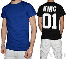 T-shirt Uomo Akiro' Bianco Nero Blu Maglia Girocollo Cotone Stampa King SARANI