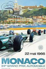 REPRO DECO AFFICHE MONACO GRAND PRIX 1966  FORMULE 1 SUR PAPIER 190 OU 310 G