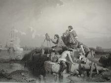 """GRAVURE 1860 """" L'atelier de Van de Velde """" E.Le Poitevin  370x260"""