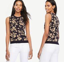 Ann Taylor New $69.50 Shimmer Floral Ann Shell Navy Blue/Gold Sleeveless Top