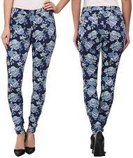 HUE Blue Dark Denim Floral Original Stretch Leggings U15377 - MSRP $46