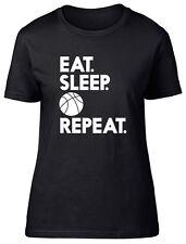 Eat Sleep Basketball Repeat Womens Ladies Fitted Short Sleeve Tee T-Shirt