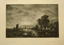 1886-STAMPA ORIGINALE-PHOTOGRAVOURE-KANAL MIT SCHIFFEN-CAVALE CON NAVI-