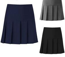 Womens Girls Pleated School Skirt Drop Waist Grey Black Navy Ages 5-16 Size 6-24