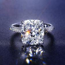 925 Silver Women 5ct Moissanite Radiant Zircon Rings Wedding Christmas Jewelry