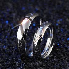 Fashion Women Men Korean Heart Shaped Couple Rings Titanium Steel Ring Gift BS