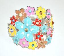 BRACCIALE RIGIDO SMALTATO donna argento colorato cristalli pulsera armband 254