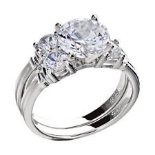 Sterling Silver 14k White Gold Round Diamond cut Engagement Ring Wedding Set aa