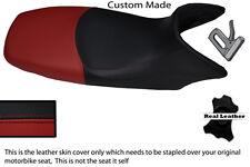 BLACK AND BURGUNDY CUSTOM FITS HONDA XL 125 01-12 VARADERO LEATHER SEAT COVER