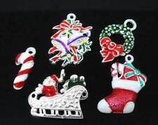 Christmas Charms Silver Plated Enamel Pendants Xmas Charm 5 10 20