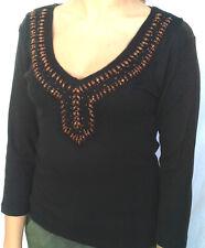 maglie, magliette manica 3/4 con perline in legno cucite 100% cotone*