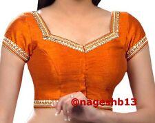 Readymade Saree Blouse, sari blouse, Ready to Wear Blouse, Orange Kundan Blouse