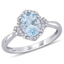 Amour 10k WG Aquamarine and Diamond Halo Ring