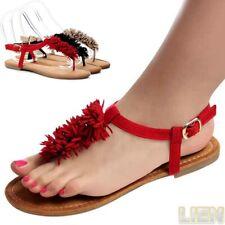 Sandalias Chanclas de dedo Tiras Flecos Zapatos Mujer 1034