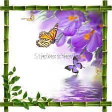 Sticker autocollant Cadre bambou Fleurs et Papillons 7202