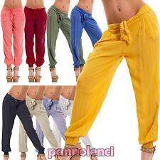 Pantaloni donn harem cavallo basso trasparenti sarouel leggeri nuovi CJ-1576