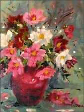 Ceramic Tile Mural Backsplash Jaedicke Flowers Floral Arrangement Art Bja009