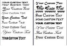 2x CUSTOM VINYL STICKER TEXT Personalised Name Lettering 72 GLOSS OR MATT COLORS