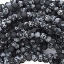 "Matte Black Snowflake Obsidian Round Beads 15"" Strand 4mm 6mm 8mm 10mm 12mm"