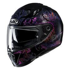 hjc i 70 varok grafica nero viola lucido casco integrale fiori metal + pinlok
