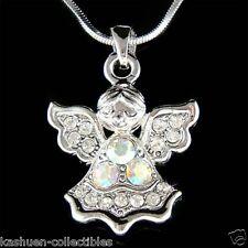 w Swarovski Crystal Christian Guardian Angel of God Charm Pendant Chain Necklace
