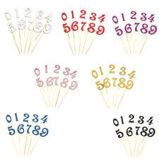 10x Glitter 0-9 Zahlen Kuchen Topper Cupcake Picks Für Kinder Geburtstagsfeier