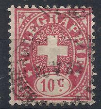 1877 SVIZZERA USATO TELEGRAFICI 10 CENT -  SZ068