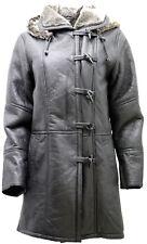 Women's Black Hooded Real Shearling Sheepskin Leather Duffle Coat