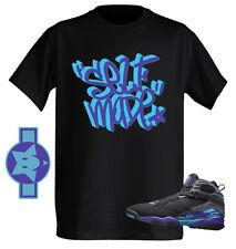 SELF MADE Street tag art Tshirt to match with Air Jordan Retro 8 Aqua Purple NWT