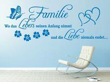 g296 Spruch Wandtattoo  Familie wo das Leben seinen Anfang Wandaufkleber Zitat 1