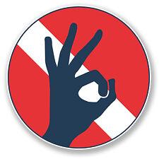 2 x 15cm Scuba Diving Vinyl Decal Sticker Laptop Diving Flag OK Hand Dive #6671
