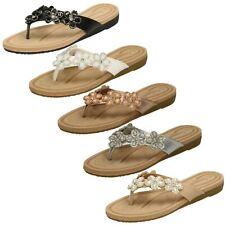 Ladies Savannah Jewelled Flower Trim Slip On Toepost Mule Sandals F0R0100