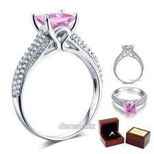 925 Sterling Silver Engagement Ring Princess 1.5 Carat Fancy Pink Lab Diamond