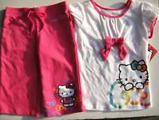 Hello Kitty Nwt Girls 2Pc Tee Top Shirt Capri Pants Pink White Logo 6 Bow Sanrio