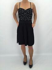 b0079 Damen Violet Kleid kurz Partykleid Spaghettiträger Brustpolster schwarz