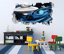 3D Ufo Pattern Wall Murals Stickers Decal breakthrough AJ WALLPAPER US Lemon