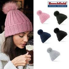 Beechfield Verbier fur pop pom chunky beanie Knited winter Bobble woolly cap/hat